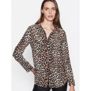 Equipment Slim Signature Leopard Silk Blouse M